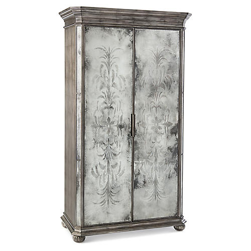Exeter 2-Door Cabinet, Silver/Mirrored