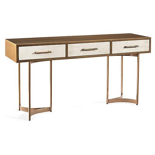 Wexford 3-Drawer Console, Aztec Gold/Chalk