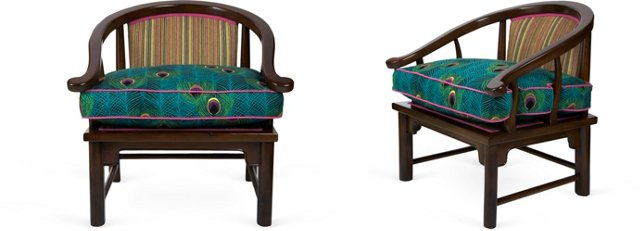 Peacock-Emblazoned Armchairs, Pair