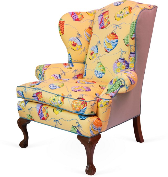 Chinese-Lantern-Motif Wingback Chair