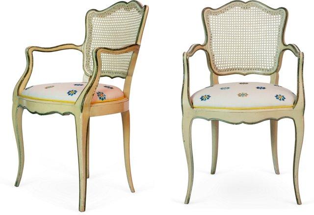 Elegant Venetian-Style Armchairs, Pair
