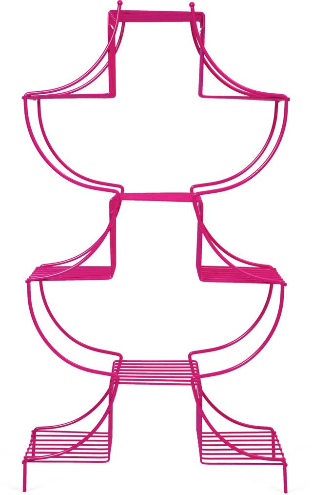 Pink Powder-Coated Plant Stand