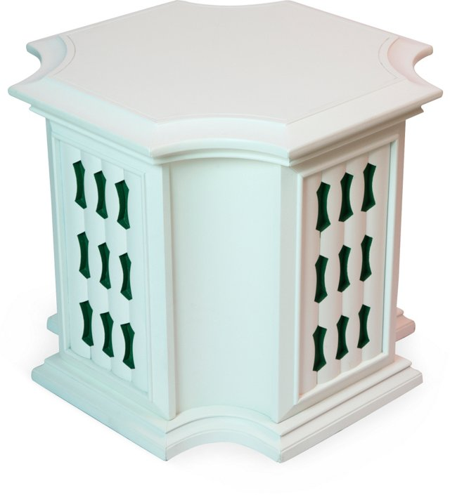 White Side Cabinet w/Green Insets