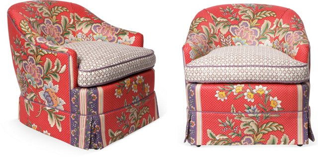 Upholstered Caster Chairs, Pair