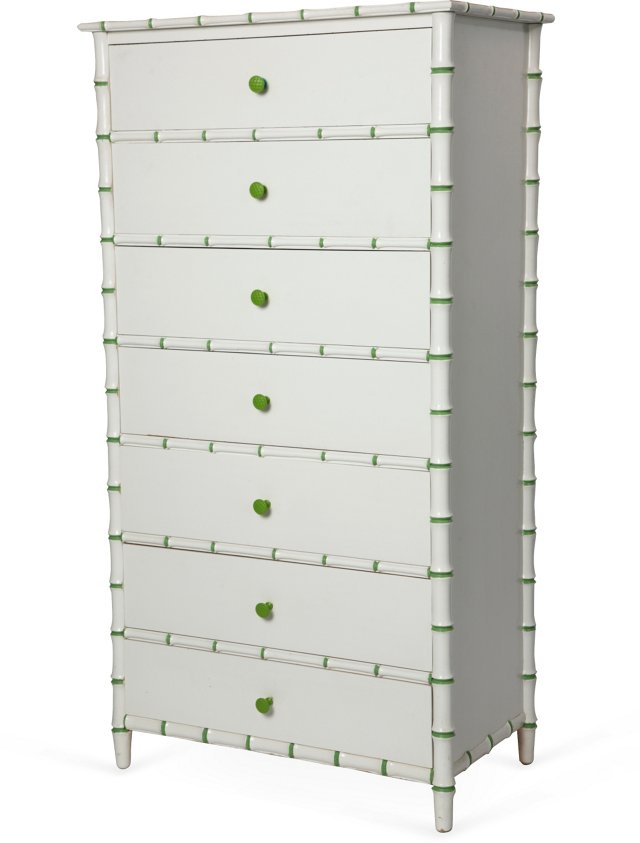 Tall Faux-Bamboo Chest of Drawers