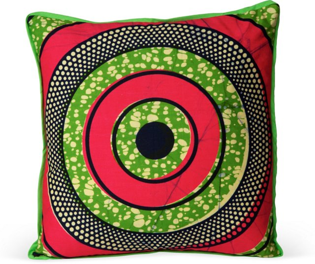 Graphic African Fabric Pillow II