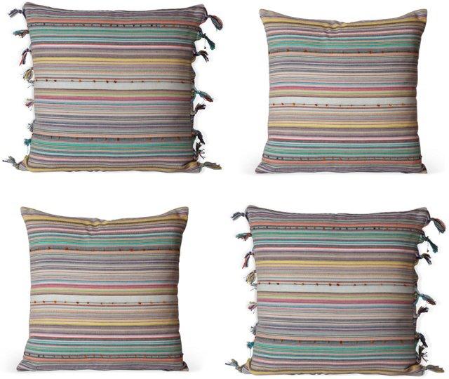 Multi-Stripe Tassel Pillows, Set of 4