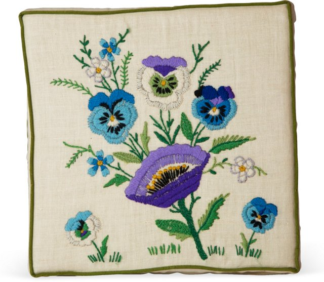 Floral Needlepoint Square Pillow
