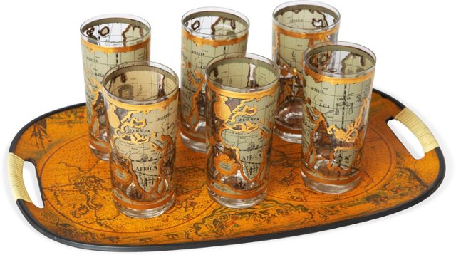 Marvelous Map Tray & 6 Glasses