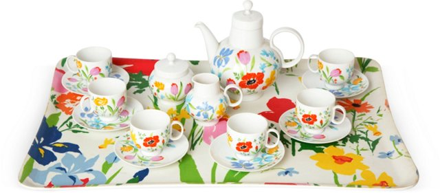Floral Tea Set & Tray, 16 Pcs.