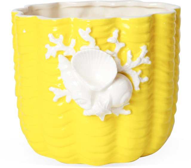 Yellow & White Shell Planter