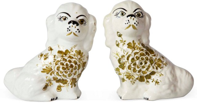 Italian Ceramic Dogs, Pair