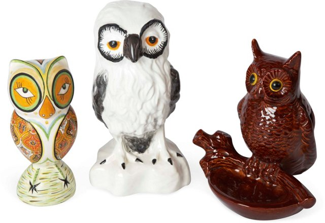 Ceramic Owls, Set of 3
