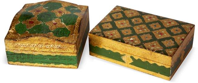 Papier-Mâché Italian Boxes, Set of 2
