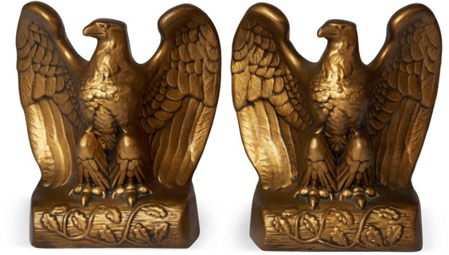 Painted Plaster Eagle Bookends, Pair