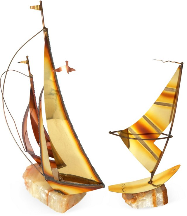 Brass & Stone Sailboats, Pair