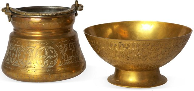 Etched Brass Bowls, Set of 2