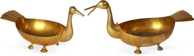 Brass Duck Serving Stands, Set of 2
