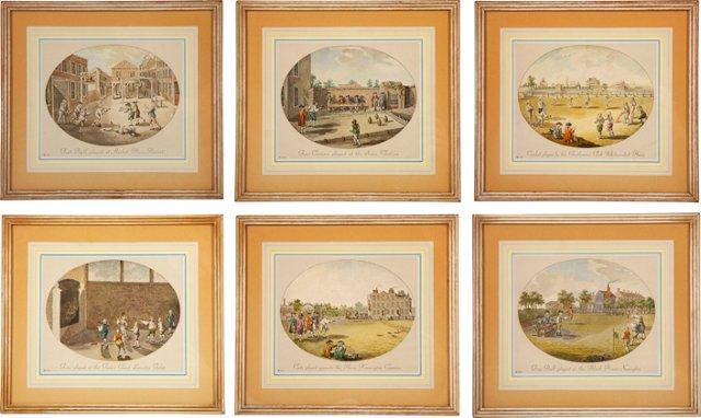 Vintage Sports-Themed Prints, Set of 6