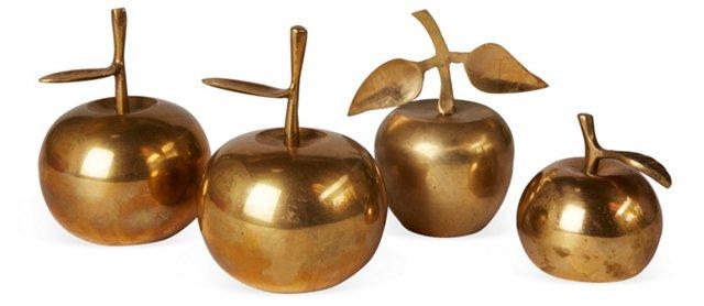 Brass Apple Bells, Set of 4