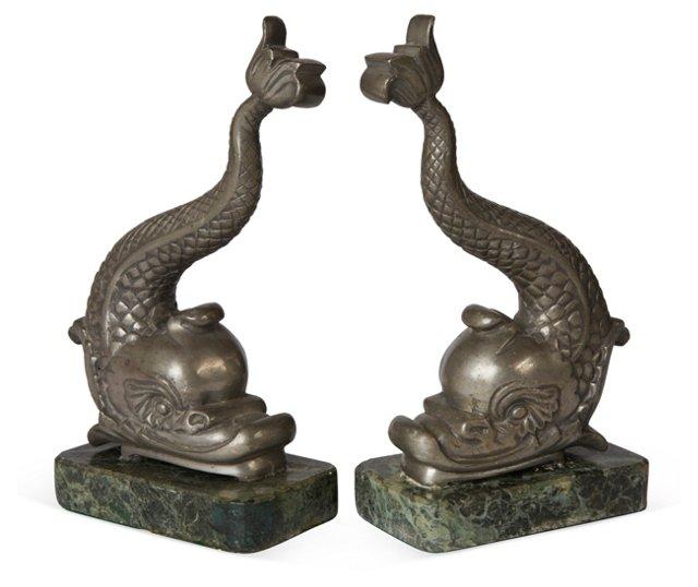 Silver-Hued Fish Sculptures, Pair