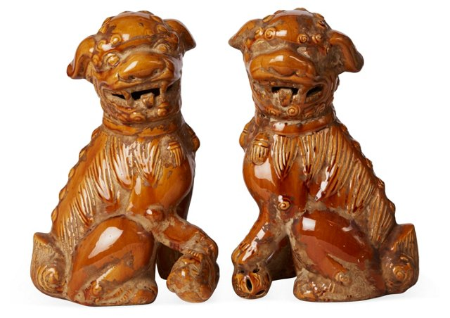 Brown Foo Dogs, Pair