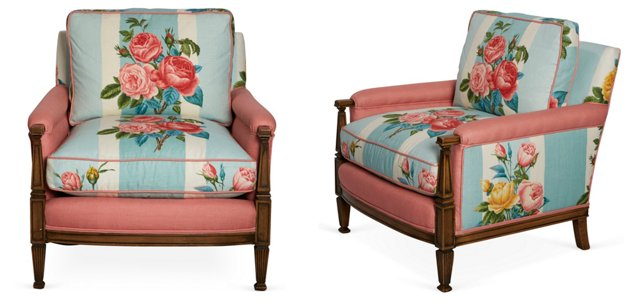 Fabulous Floral Chairs, Pair