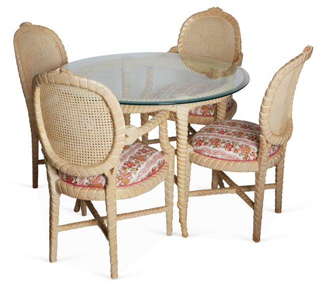 Rope Table & Chairs, Set of 5
