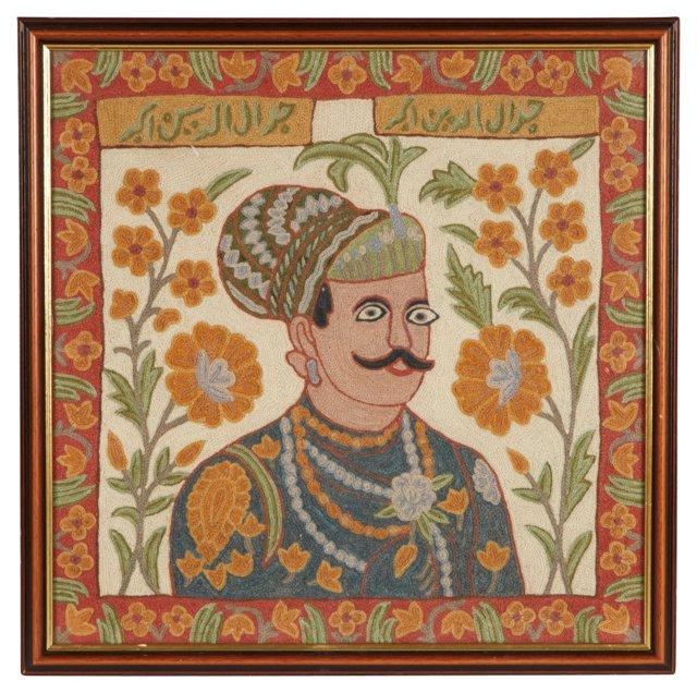 Framed Indian Gent Crewelwork
