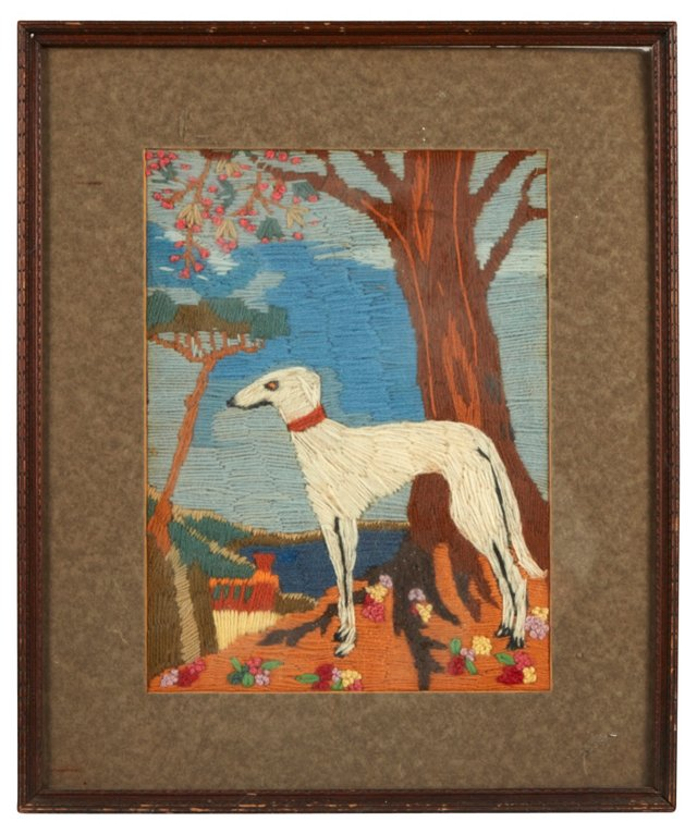 Framed Wolfhound Embroidery