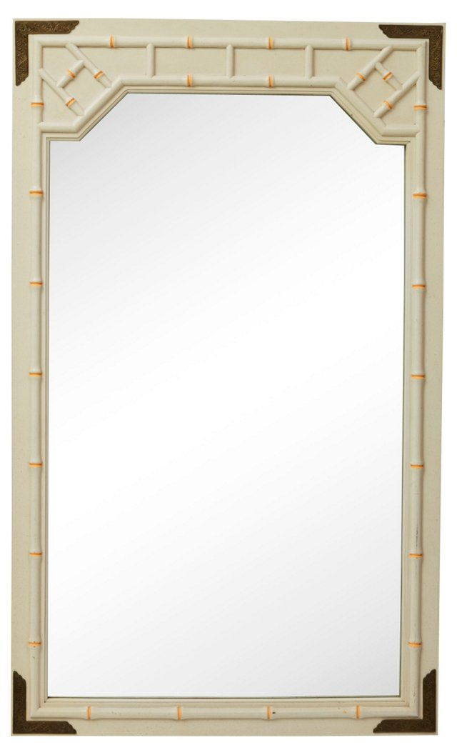 Faux-Bamboo Mirror w/ Coral Accents