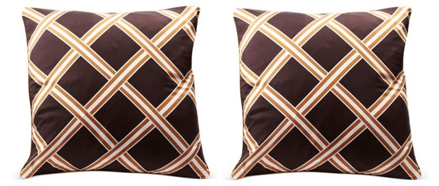 Brown & White Lattice Pillows, Pair