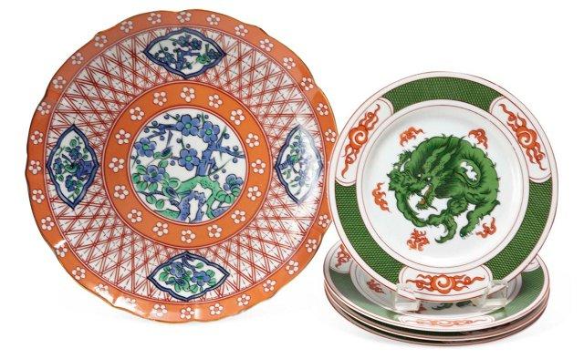 Asian-Pattern Serving Plates, Set of 5