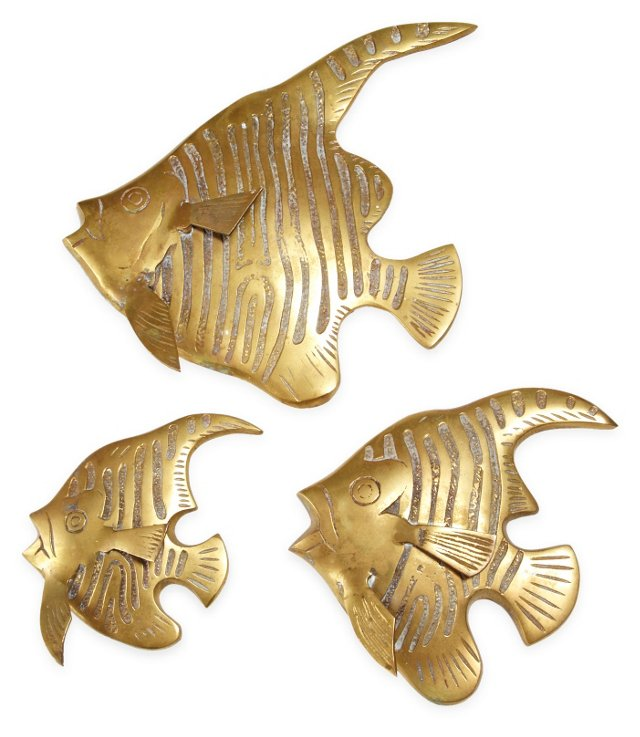 Brass Fish Wall Hangings, Set of 3, I