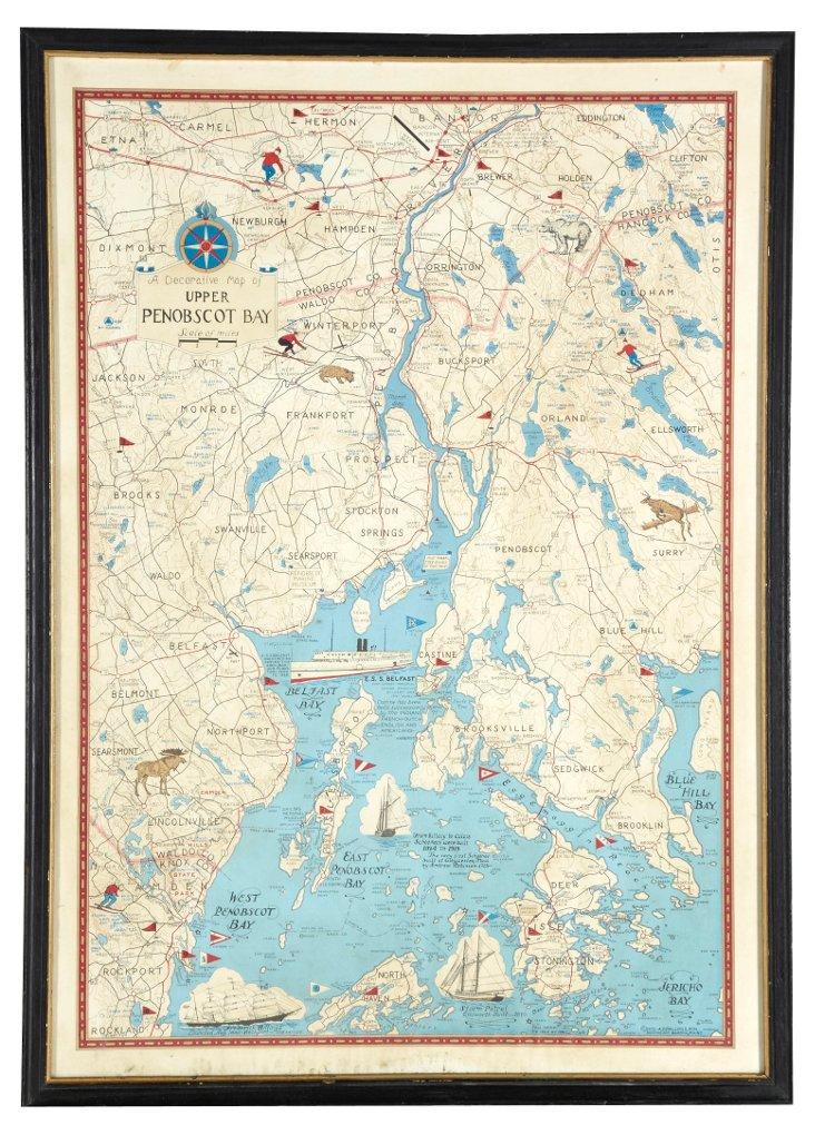 Framed Map of Penobscot Bay