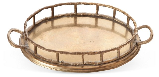 Small Faux-Bamboo Brass Tray