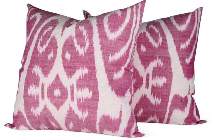Magenta Ikat Pillows, Pair