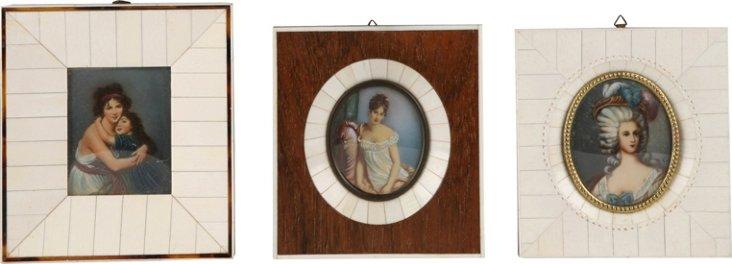 Miniature Oil Paintings, Set of 3