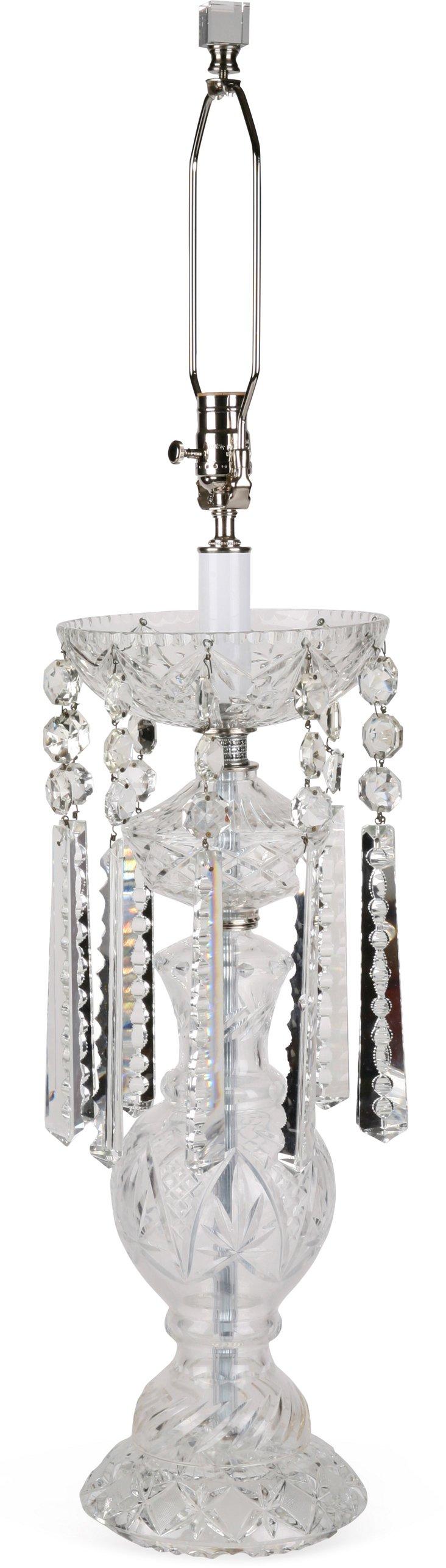 1970s Cut-Crystal Lamp