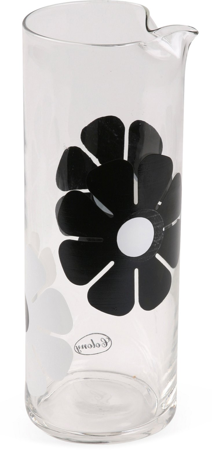 1960s Floral Glass Martini Pitcher