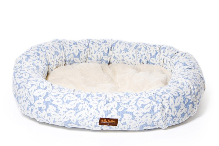 Donut Bed, Leaves in Blue