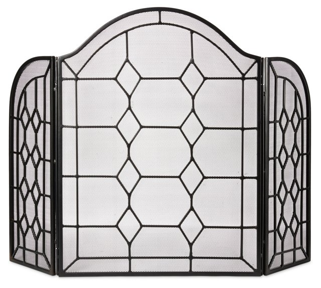"""32"""" 3-Panel Chartres Fire Screen, Black"""