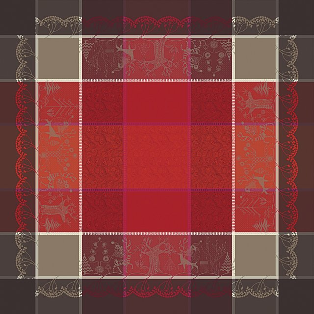 Cerise Plaid Tablecloth, Cherry