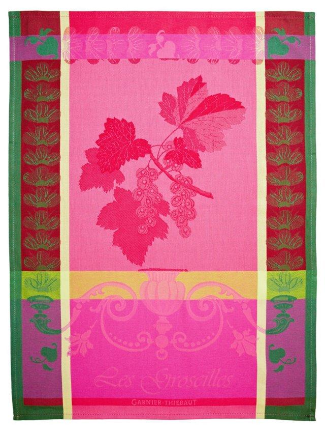 S/4 Kitchen Towels, Groseilles Rose