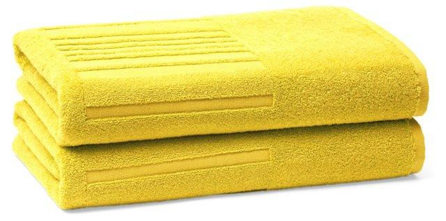 Set of 2 Spa Bath Towels, Lemon