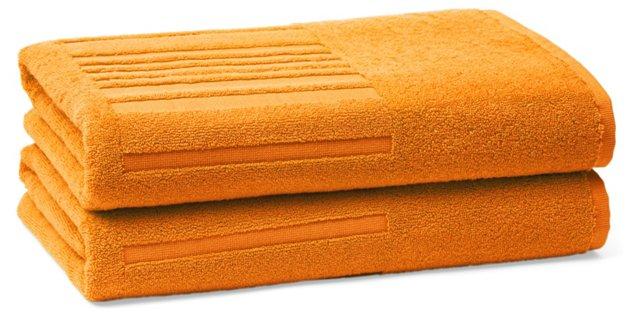 Set of 2 Spa Bath Towels, Mandarin