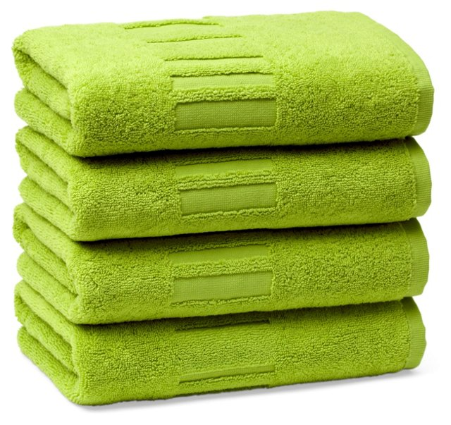 Set of 4 Spa Hand Towels, Lime