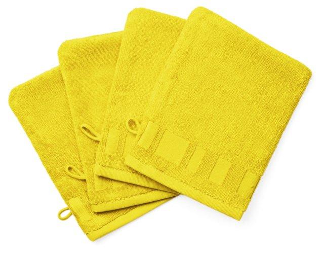 Set of 4 Spa Washcloth Mitts, Lemon