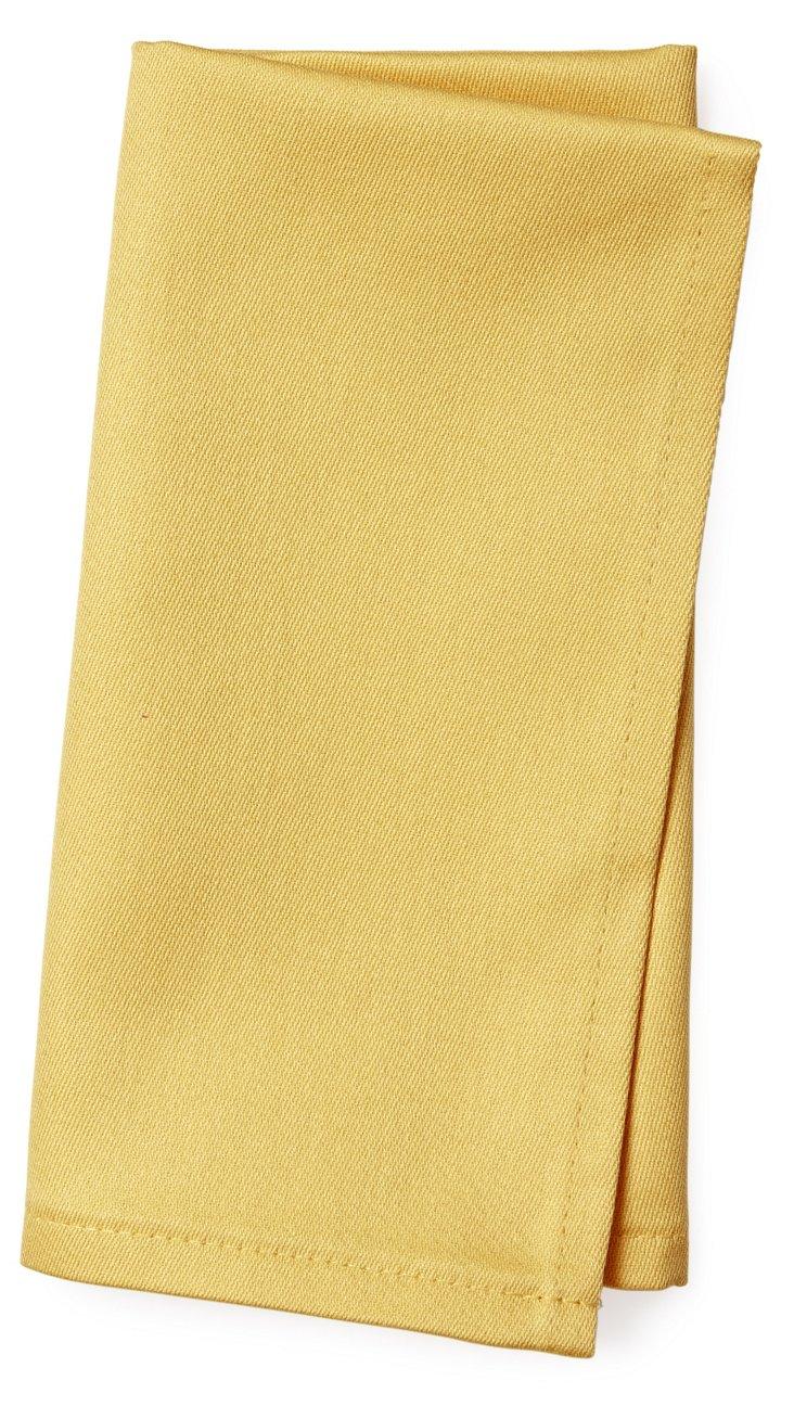 S/12 Plain Satin Napkins, Yellow