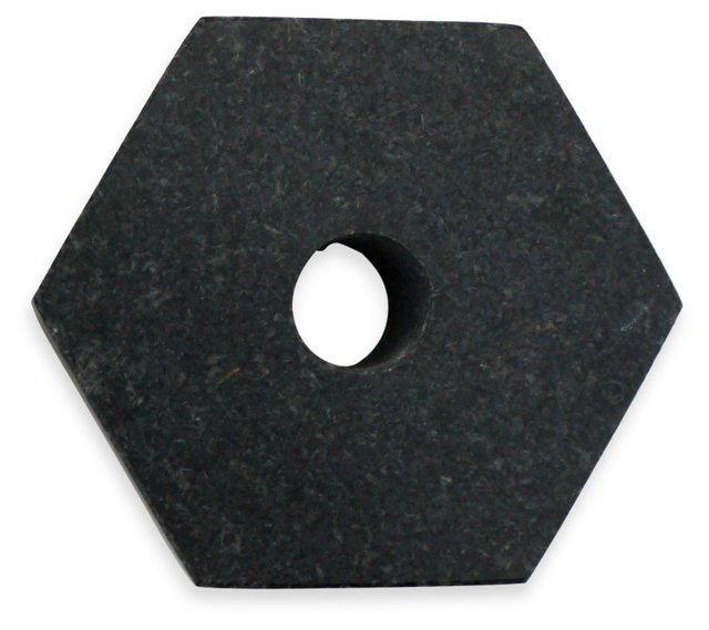 Black Granite Hexagon Candleholder